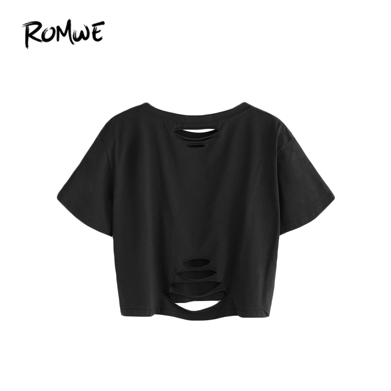 9f23f90bc1aa ROMWE Crop Tops Women Black Ripped Crop T shirt Summer Short Sleeve Hollow  Out Tee Shirt Women Casual T shirt-in T-Shirts from Women s Clothing on ...