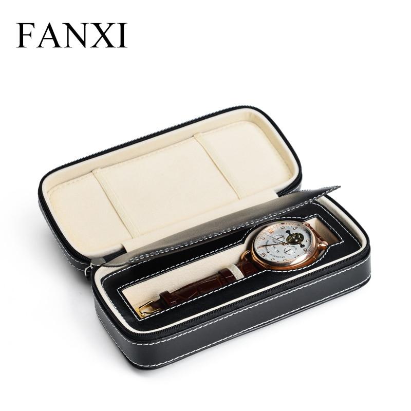FANXI Free shipping Black Leather PU Zipper single watch travel portable watch box Wrist watch receiving box
