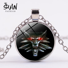SIAN Hot Sale The Witcher 3 Wild Hunt Medallion Pendant Necklace Gothic Red Eyes Wolf Head Chain Necklace for Men Animal Jewelry(China)