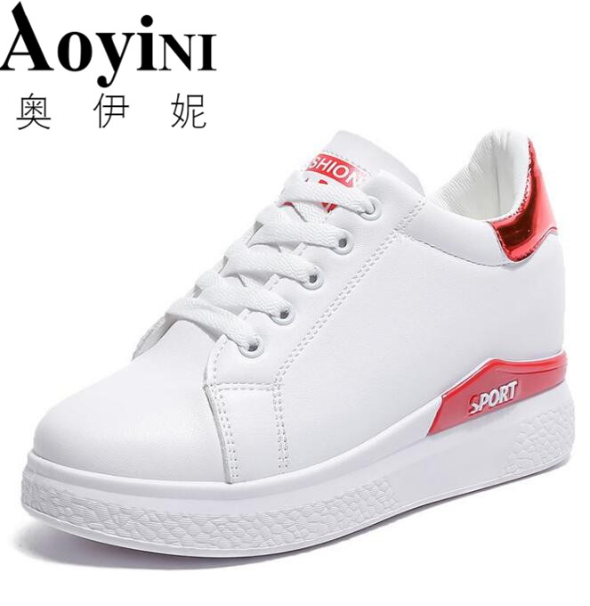 2018 Hidden Heels White Platform Wedges Sneakers Women Shoes High Top PU Leather Tenis Feminino Casual Basket Femme wolf who women winter shoes fur wedge fashion sneakers women hidden heels basket femme tenis femininos casual h 152