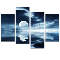 Full Moon Sea Canvas Wall Art Prints for Living Room Sea Landscape Canvas Picture Wall Decal,Modern Canvas Wall Art