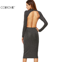 COLROVIE Korean Style Women Party Dresses Elegant Evening Midi Dress Grey Ribbed Knit Open Back Sparkle