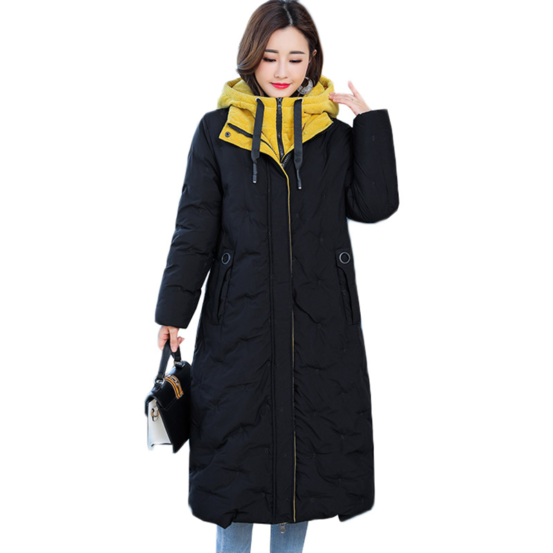 New Winter Long Down Cotton Jacket Coats Woman   Parkas   Thicken Warm Hooded Cotton Padded Outerwear Plus Size 5XL Women Clothing