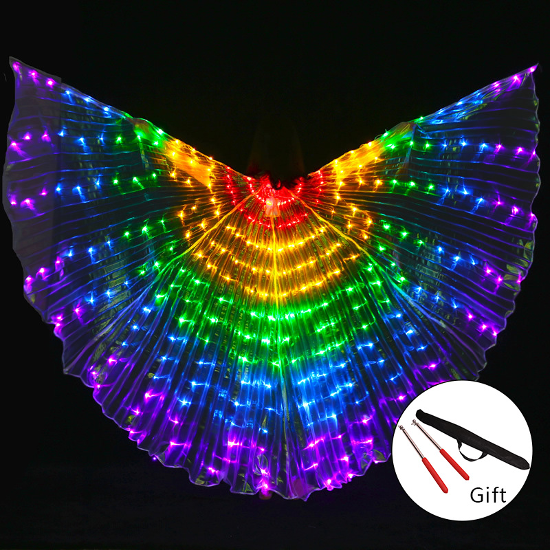 Stage Performance Props Women Dance Accessory DJ LED Dance Wings Light Up Wing Costume LED Dance Wings Rainbow Colors With Stick
