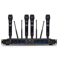 Professional wireless microphone UHF four-channel conference room / karaoke home KTV