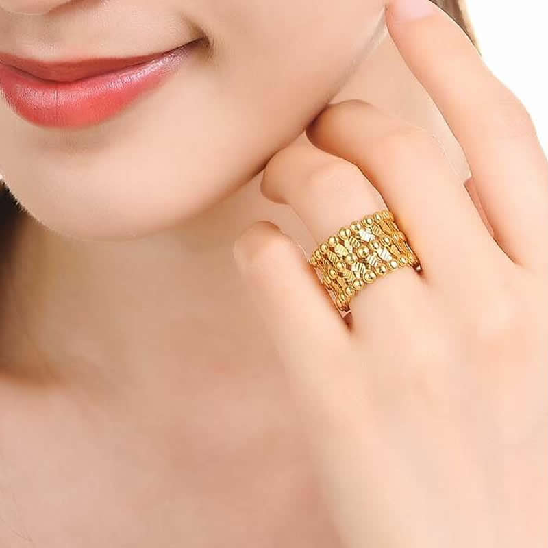 Hot Sale Italy Design AU750 Gold Magic Ring Can adjustable - 2