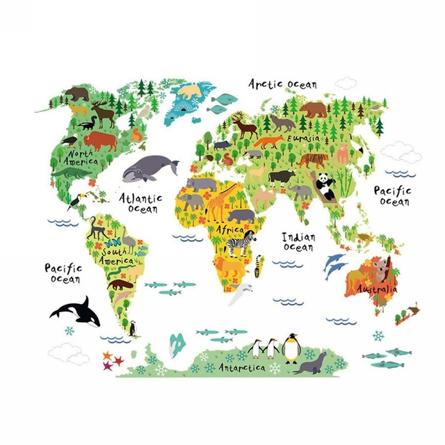 Mayitr world map pvc wall sticker kids nursery room animal world map nursery decal home decor 60x90cm in wall stickers from home garden on mayitr world map pvc wall sticker kids nursery room animal world map nursery decal home decor gumiabroncs Images