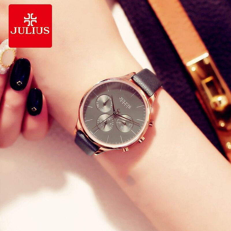 Julius Brand Women Watches Relojes Mujer 2018 Luxury Business Wrist Watch  Ladies Leather Quartz Sport Watch Hours Clock Relogio