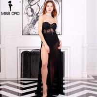 Free Shipping Missord 2015 Sexy Bra Sexy Sleeveless Lace Stitching Split Playsuit FT5172