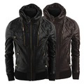 Spring new multi zipper collar cuffs hem men's fashion leather jacket Slim