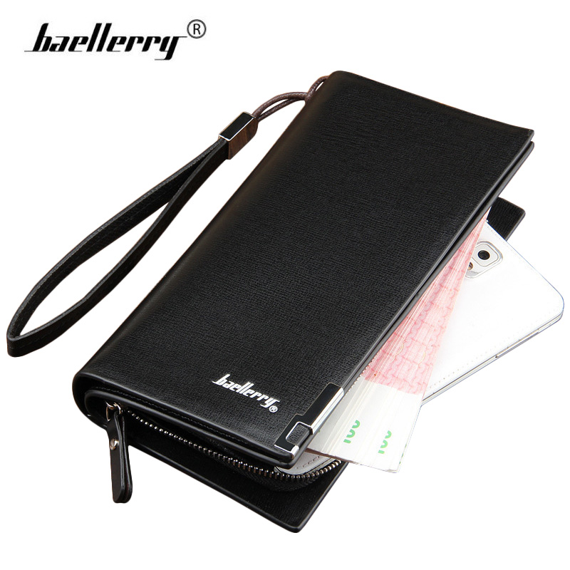 Baellerry New 2017 Men Wallets Long Clutch Wallet with Strap Male Famous Brand Business Money Bag Coin Purse Mens Wallet Black 2016 famous brand new men business brown black clutch wallets bags male real leather high capacity long wallet purses handy bags