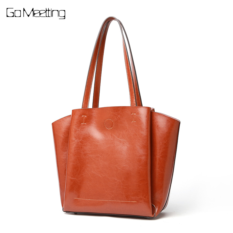 Go Meetting Large Capacity Genuine Leather Women Shoulder Bag Female Fashion Casual Tote Handbag All-match Top-handle Bag Purse foxer brand fashion women handbag leather luxury shoulder bag all purpose purse large capacity tote bag