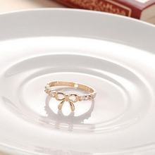 iShining Girl's elegant Bow Rings Plated accessories Gold Silver rings Fine Lovers Korean Jewelry Simple Crystal