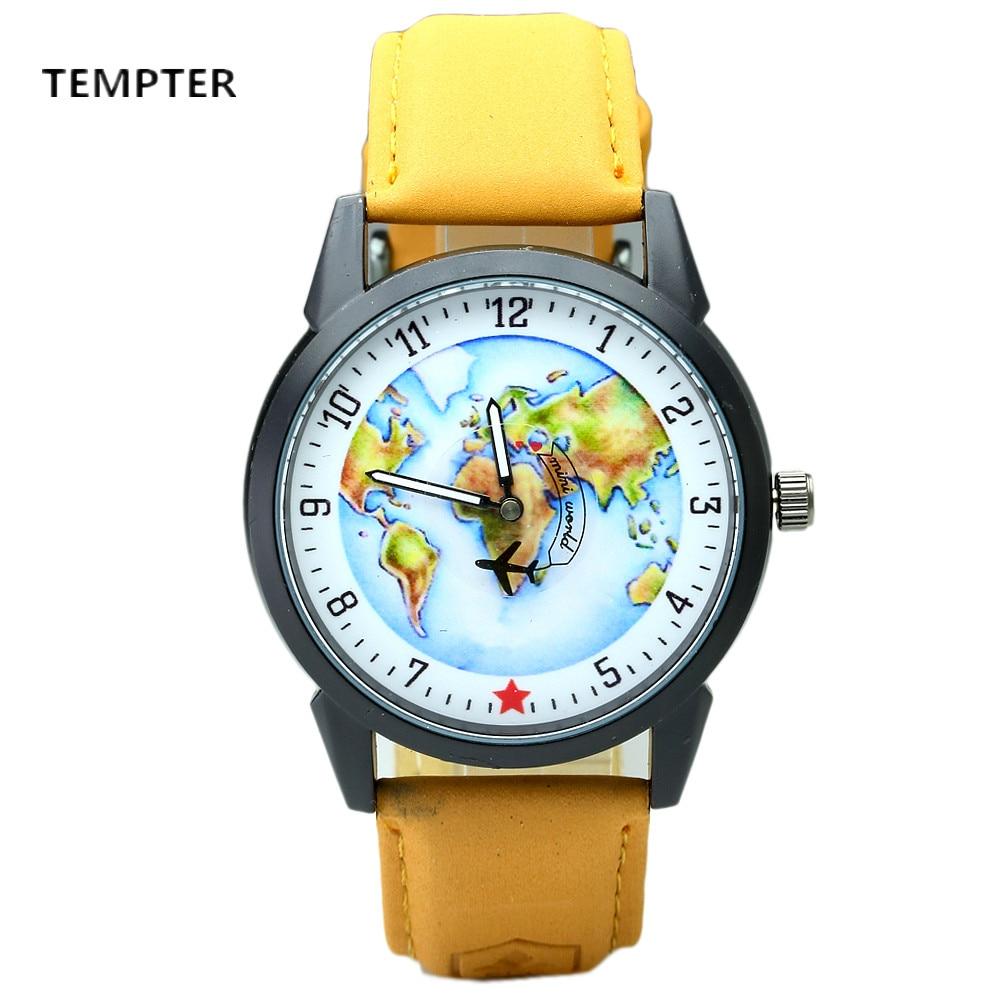 Top Brand Watch For Men Global Travel By Plane Map Dial Wrist Watches Mens Vintage Denim Leather Analog Quartz Watch Reloj 2017 global brand 2015 da33 440c 56hrc