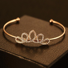 2017 High Quality Fashion Jewelry Princess Crown Full CZ Bracelet Luxurious Sweet Nice Rose Gold Open Mouth For Women