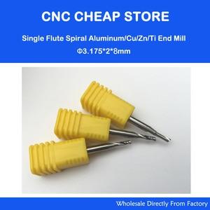 Image 1 - 5 sztuk 3.175x2x8mm pojedyncze frezy z węglików spiekanych CNC Aluminume Bit, importowane frezy do cięcia metalu, aluminium, Cu, Zn