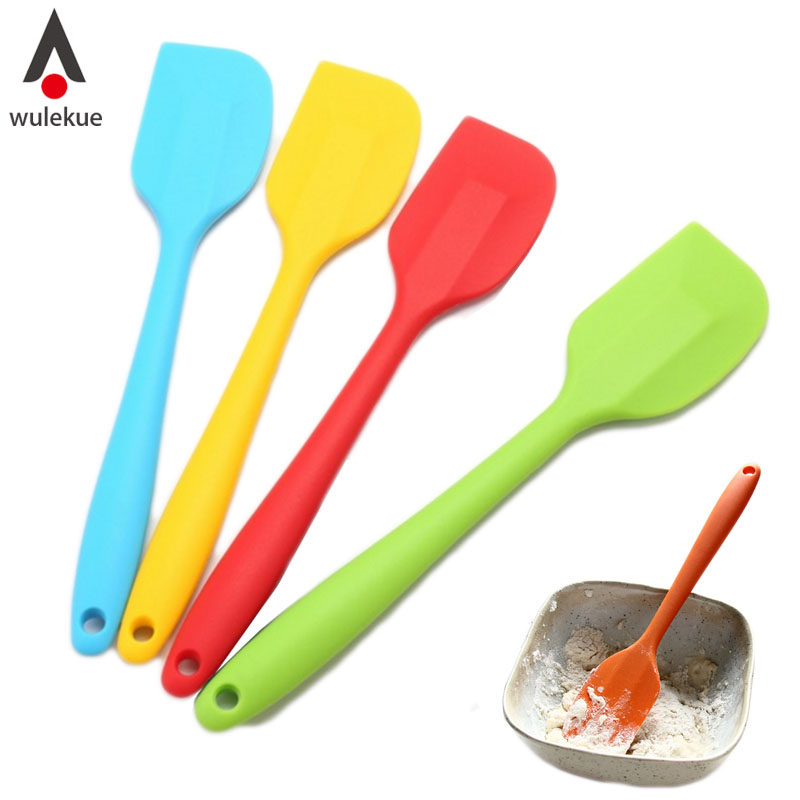 2Pcs (S L) Home Kitchen Gadgets Silicone Baking Cream Butter Cake Batter Spatula Scraper Brush Tool TQ-KT049
