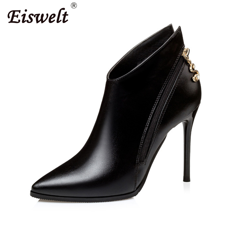 EISWELT Autumn Fashion High Heels Ankle Boots Woman Casual Ladies Solid Sexy Pointed Toe Thin Heels Short Women Fashion Boots