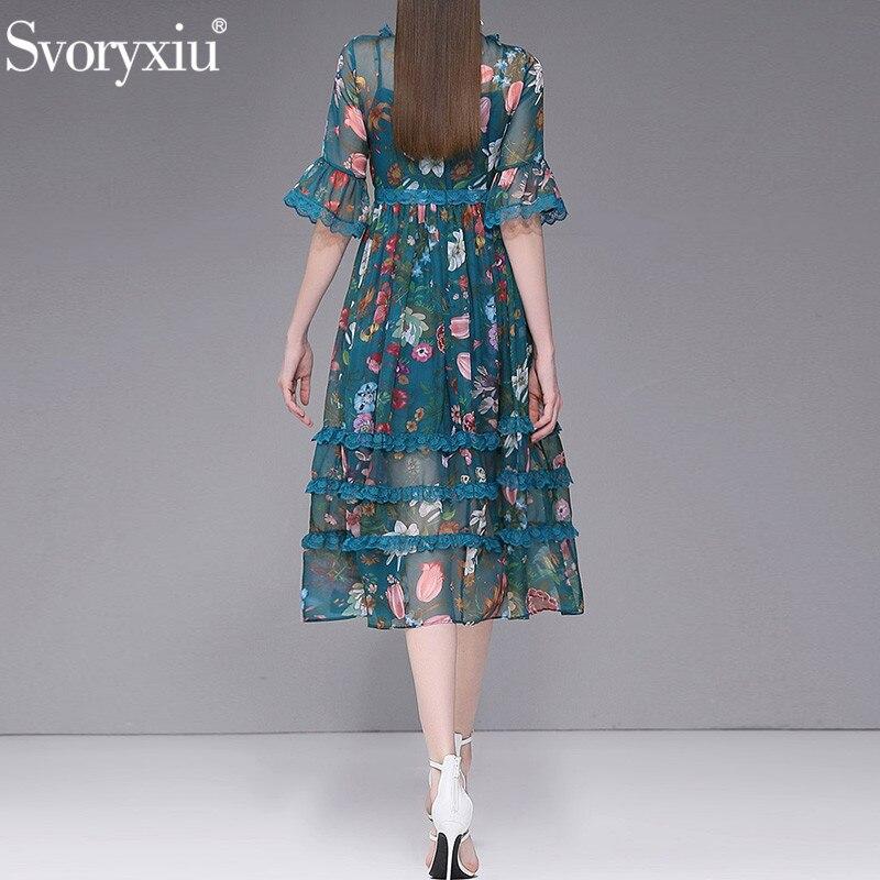 Svoryxiu 2019 Designer Sommer Party Chiffon Spitze Lange frauen Kleid Vintage Blume Drucken Boho Strand Urlaub Kleid Vestidos-in Kleider aus Damenbekleidung bei  Gruppe 2