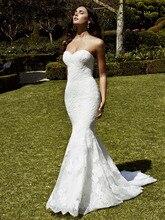 2017 New Arrival Sweetheart Mermaid Wedding Dress Backless Lace Floor Length Applique Vestido de novia Bridal