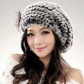 Boina Chapéus de Inverno chapéu de pele de coelho Rex 2016 Das Mulheres De Malha Personalizado chapelaria Chapéu Para As Mulheres do Sexo Feminino Casual Chapéus de Pele De coelho de ano novo