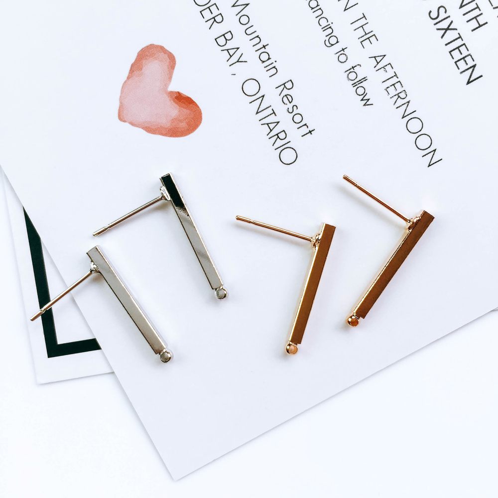 Rectangle Belt Hanging Earrings Pins Hook Block Ear Clip Handmade Supplies For Jewelry Making Finding Accessories Material 10pcs