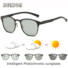 BELMON Polarized Sunglasses Men Driver Intelligent Photochromic Sun Glasses For Male Driving Goggles UV400 AL-MG Oculos RS725