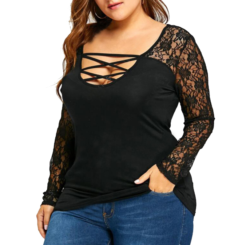 2018 Autumn Women Blouses Sexy Lace Crochet Shirts Bandage Hollow Out Long Sleeve Patchwork Casual Tops Plus Size