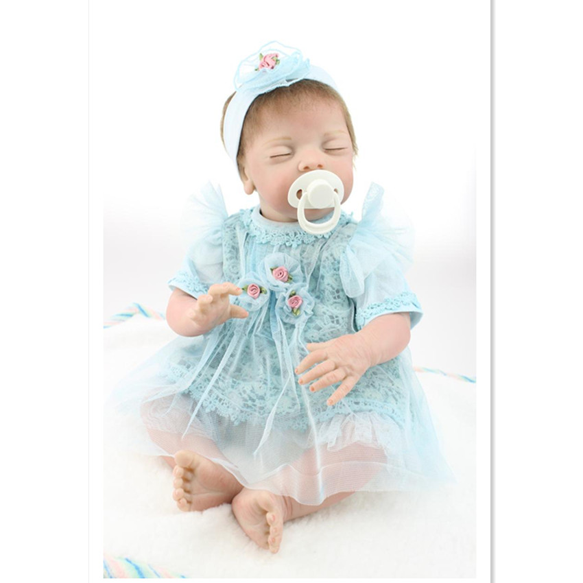 Cute Silicone Reborn Dolls Toys for Kid's New Year Gift,20 Inch Lifelike Baby Sleeping Doll with Clothes Free Shipping free shipping new year merry christmas gift 18 american girl toy with clothes silicone lifelike baby doll baby toys girls gift