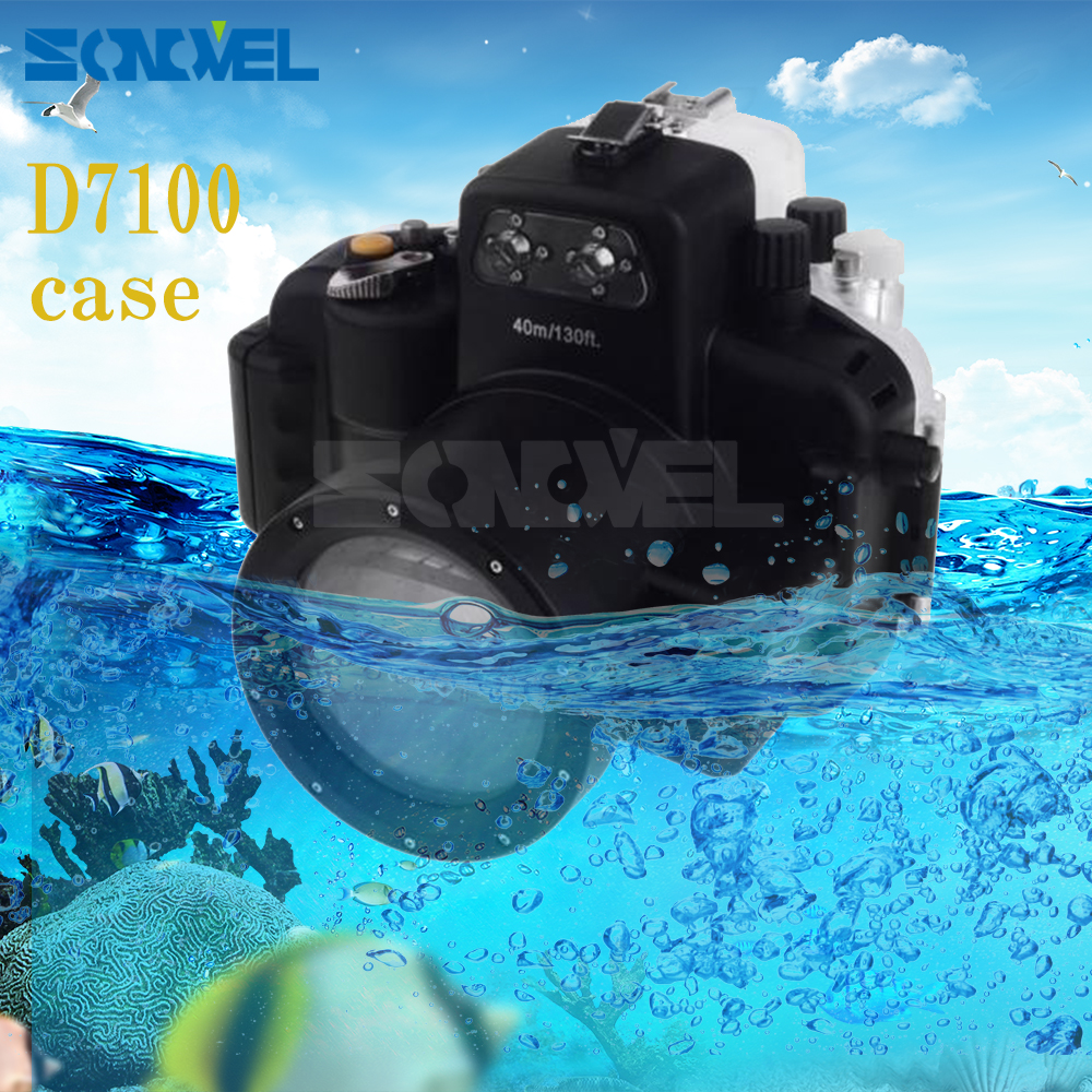 Meikon 40m 130ft Waterproof Underwater Diving Case Camera Housing Case For Nikon D7100 Camera With 18-55mm Lens 40m 130ft waterproof underwater camera diving housing case aluminum handle for sony a7 a7r a7s 28 70mm lens camera