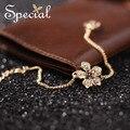 Специальные Новая Мода Позолоченные Браслеты & Браслеты Цветок Стразы Шарм Браслеты Старинные Ювелирные Изделия Подарки для Женщин S1601C