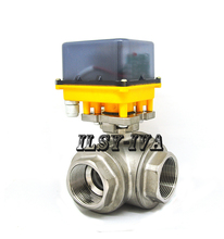 DN40 AC12V/24V/220V 3-way Stainless steel fixed-type electric ball valve