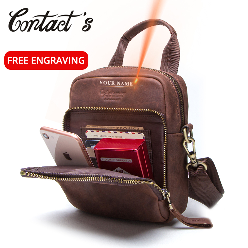 Contact's Genuine Leather Men Waist Fanny Packs Small Messenger Bags With Phone Pouch Men's Belt Bags Blosa Brand Designer