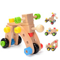 DIY Wooden Puzzle Nut Building Vehicles Changeable Nut Car Kits Educational Training Toys for Children 1-5 Years