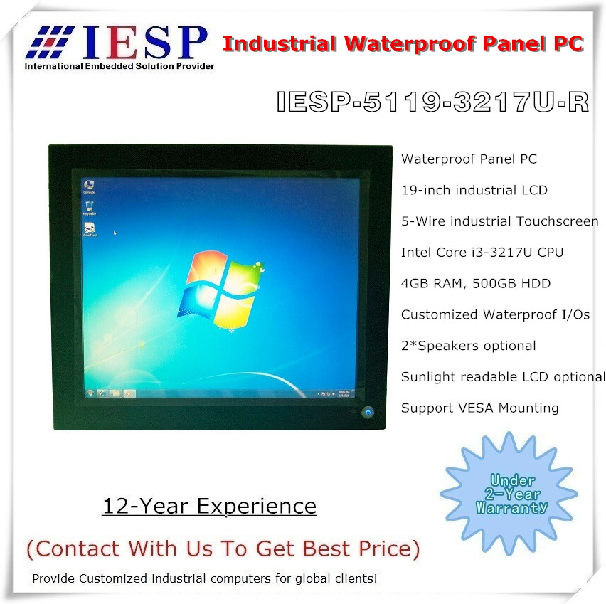 19 inch IP65 Waterproof Panel PC, Core i3-3217U CPU,4GB DDR3 ,500GB - Industrial Computers and Accessories