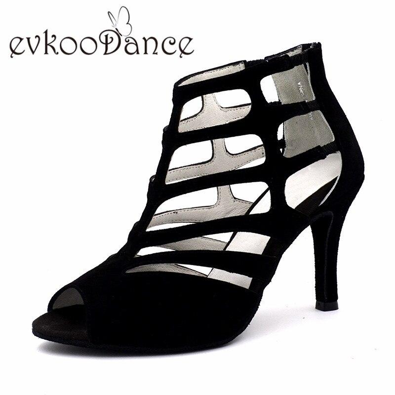 Zapatos De Baile Noir Véritable Nubuck Taille 4-9.5 Haute Qualité Bottes 8.5 cm Talon Femmes Latine Salsa Danse chaussures NL180
