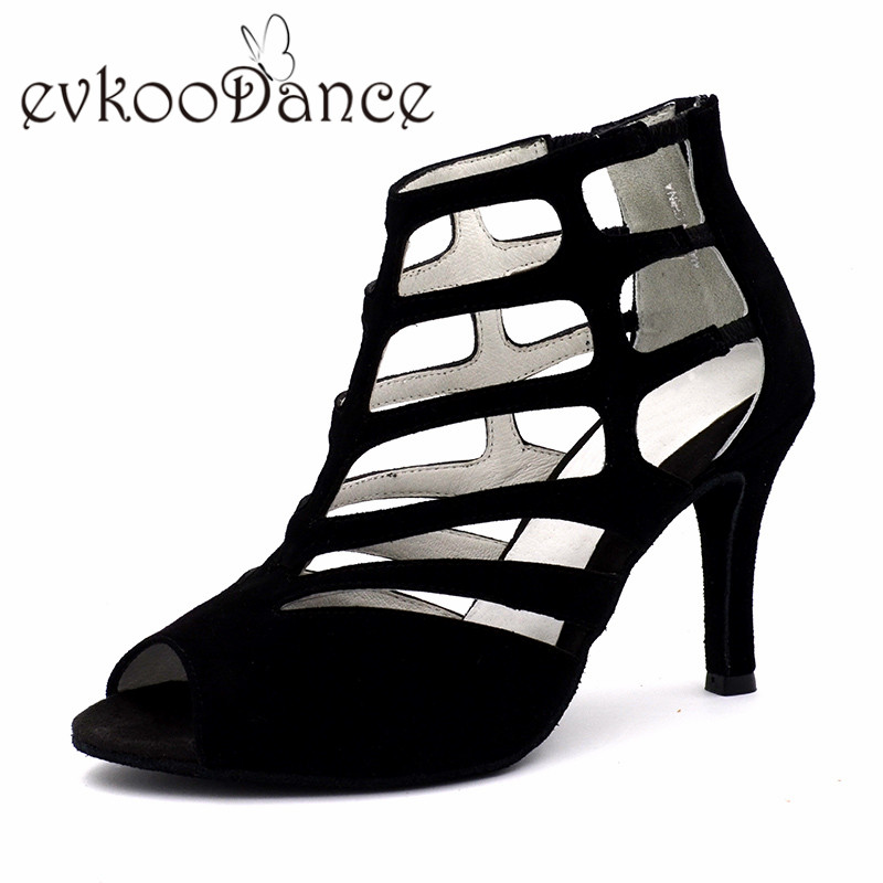 Zapatos De Baile Black Genuine Nubuck Size 4-9.5 High Quality Boots 8.5cm Heel Women Latin Salsa Dancing Shoes NL180 2017 ladies glitter rainbow colorful salsa latin shoes women tango ballroom dancing shoes high quality mesh soft sole wk024
