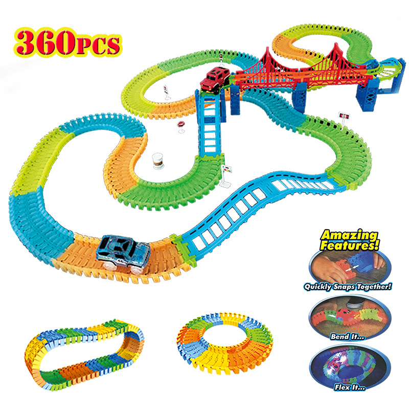 DIY Assembly Diecast Roller Coaster Race Track Electric Rail Car Model Set kids track car model Educational Toy for Children