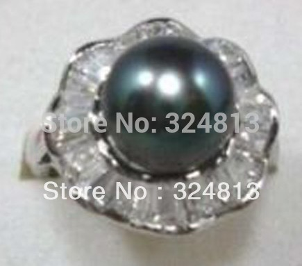 noble Tibet silver black seashell pearl Jewelry ring #2215