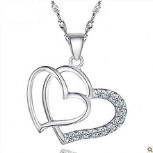 Genuine 100% S925 sterling silver double heart inlaid crystal pendant jewelry ,fashion silver pendant jewelry for woman s925 filaments shaolan craft silver inlaid huang yusui pendant in front of blessing silver supply