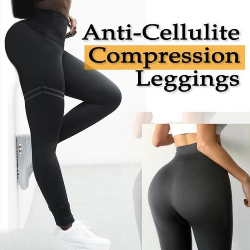 Women High Waist Anti-Cellulite Compression Slim Leggings For Tummy Control And Running NFE99