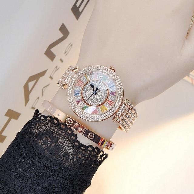 Top Qualità di Marca Delle Donne Del Rhinestone Della Vigilanza di Alta qualità Della Signora Brillante Rotazione vigilanza Del Vestito Grande Diamante cinturino In Acciaio del braccialetto di Orologi