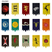 OLOEY 1PC Game of Thrones House Banner Flag Wall Hanging Stark Gardon Tournament Targaryen Lannister Tyrell Home Party KTV Decor