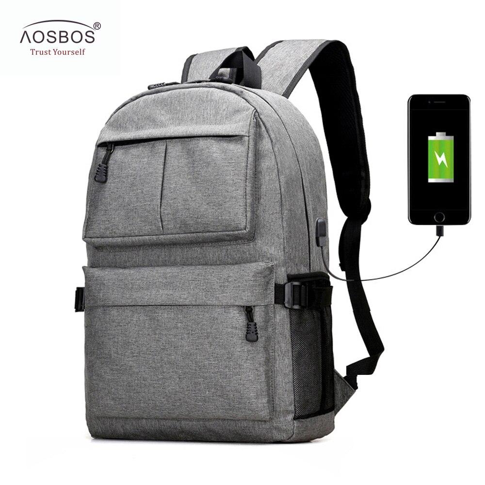 2019 Mode Aosbos Usb Unisex Design Rucksack Buch Tasche Für Schule Notebook Casual Rucksack Daypack Oxford Leinwand Laptop Mode Mann Frauen Phantasie Farben