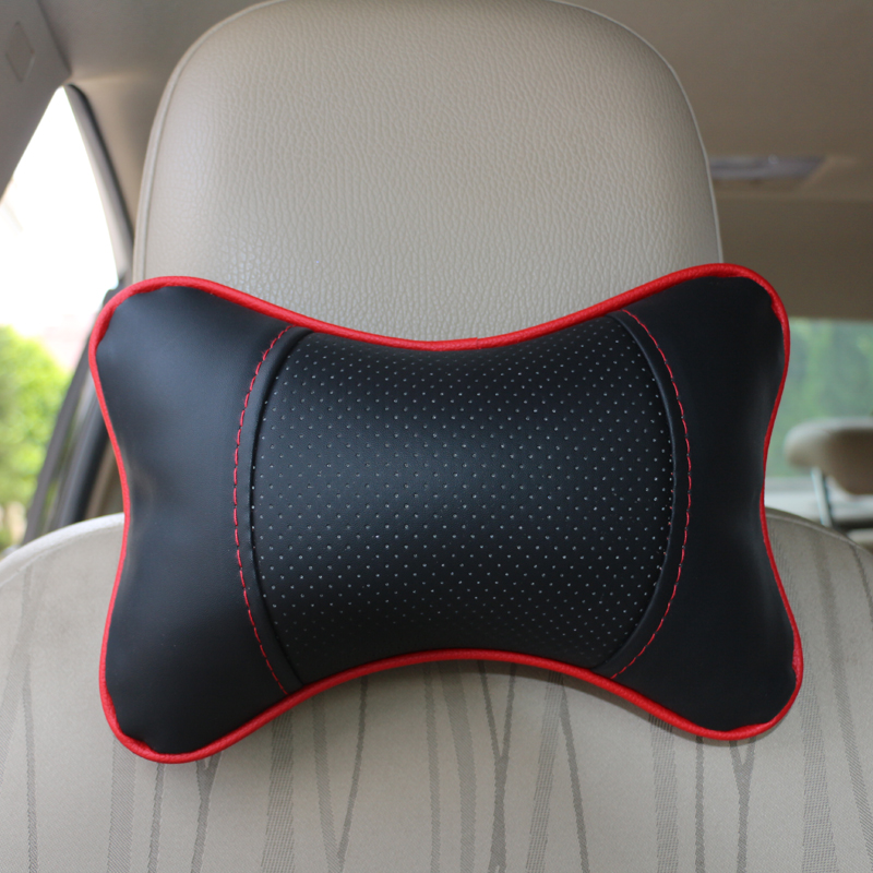 Car Seat Headrest Pillow Breathable PU Leather Head Neck Rest Cushion Vehicular Pillow Auto Supplies Car Care