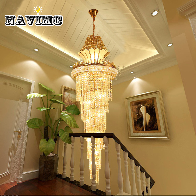 Large Gold Imperial K9 Crystal Chandelier for Hotel Hall Living Room Staircase Hanging Pendant Lamp European Big Lighting new round staircase k9 crystal pendant light villa living room lamps lobby hotel hall project lustre led pendant lamp