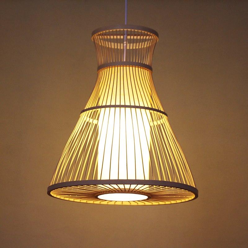 Bamboo Horn Weaving LED Pendant Lamps AC 90 260V E27 Pendant Lights Restaurant Coffee Bar Home Lighting Decor Pendant Light G064