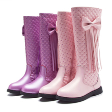 Girls kids winter boots children's shoes autumn new princess elegant kids knee-high long boots 2019 warm leather rubber toddlers