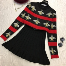 Amolapha Women Print Sweaters Sets Long Sleeve Knit Pullover Tops Pleated Skirt 2PCS