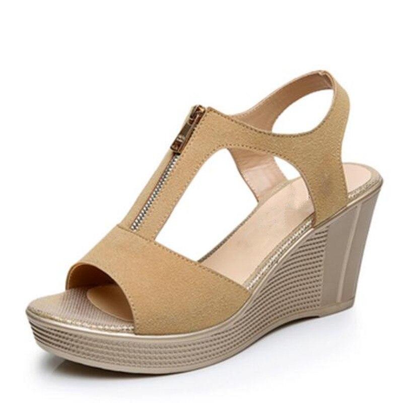 078ef7b2ab Matte Kulit Sapi Sepatu Musim Panas Wanita Sepatu Hak Tinggi Wedges Sandal  2018 Baru Fashion Plus Ukuran Asli Kulit Sepatu Wanita Sepatu Sandal di  Wanita ...